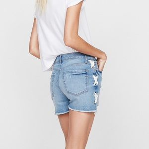 Express High Waisted Vintage Lace-Up Denim Shorts
